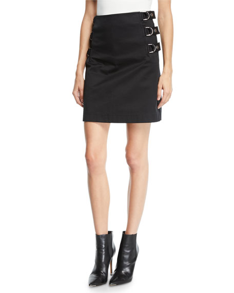 Image 1 of 1: Side-Buckled Cotton Skirt