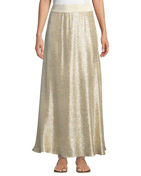 Image 1 of 1: Bright Metallic A-Line Maxi Skirt Coverup