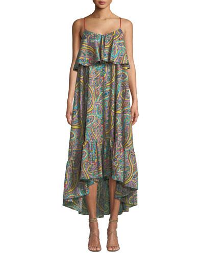 Printed Cotton Tiered Ruffle Midi Dress