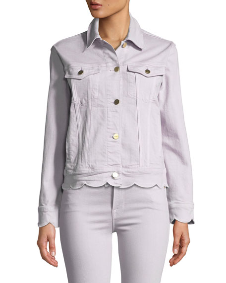 Scalloped-Edge Button-Front Denim Jacket