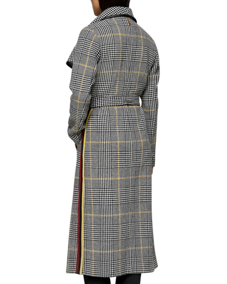 Mai Houndstooth Check Trench Coat