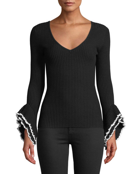 Image 1 of 1: Ribbed V-Neck Sweater w/ Contrast Ruffle-Sleeves