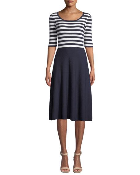 Striped Bodice Half-Sleeve Flare Dress