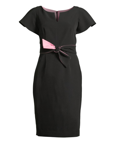 Italian Cady Tina Short-Sleeve Dress w/ Twist Detail