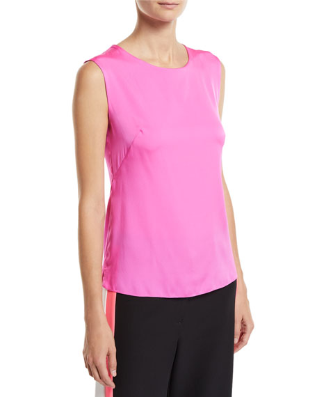 Charlie Crewneck Stretch-Silk Tank