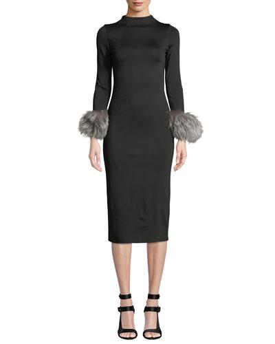 Delora Fur-Cuff Fitted Mock-Neck Dress