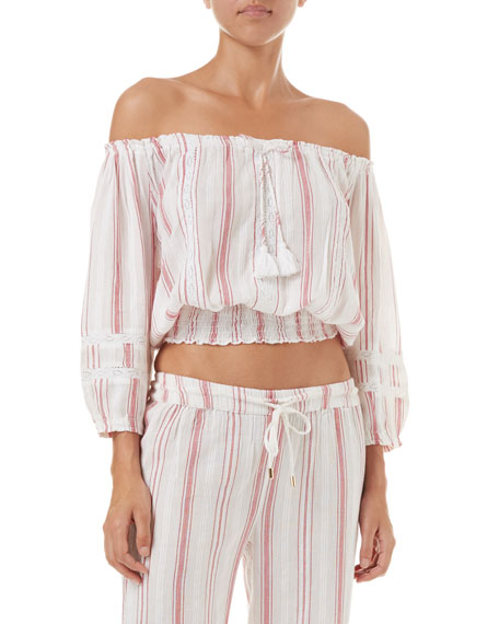 Azura Lace Off-Shoulder Cropped Coverup Top