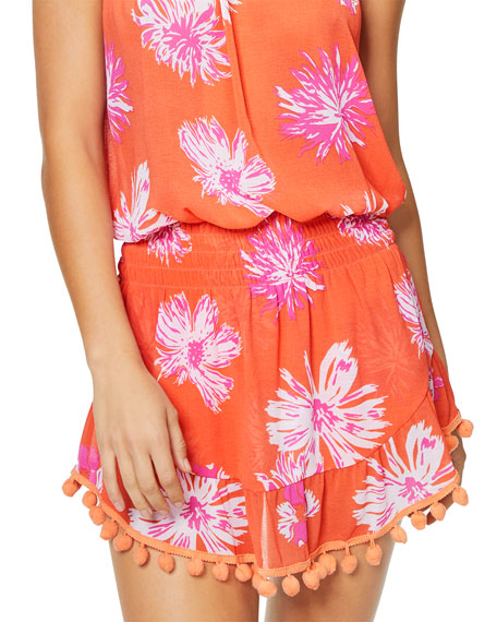 Marcie Printed Strapless Short Dress with Pompoms