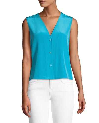 Sleeveless Silk Button-Up Top