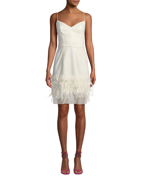 Hannah Embroidered Sequin & Feather Dress