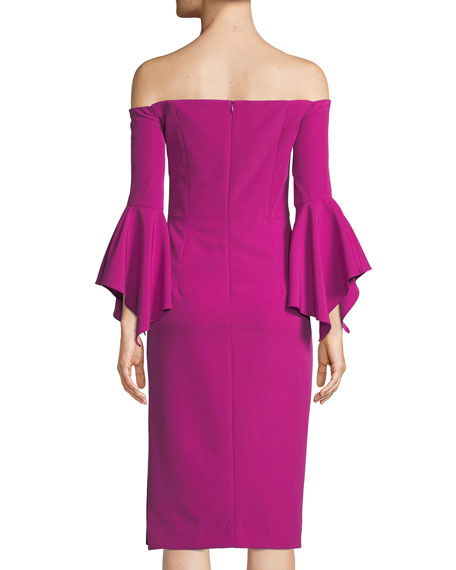 Kendall Italian Cady Off-the-Shoulder Dress