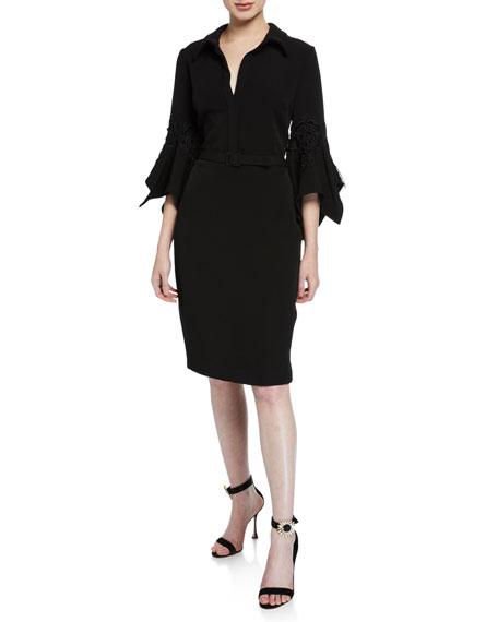Badgley Mischka Collection Hanky Bell-Sleeve Shirt Cocktail Dress