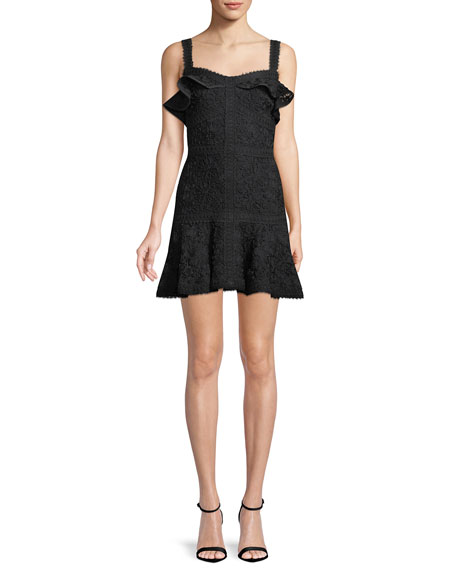 Alexis Dresses Linzi Lace Ruffle Mini Dress, BLACK