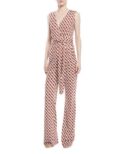 Terria Palm-Print Wide-Leg Jumpsuit