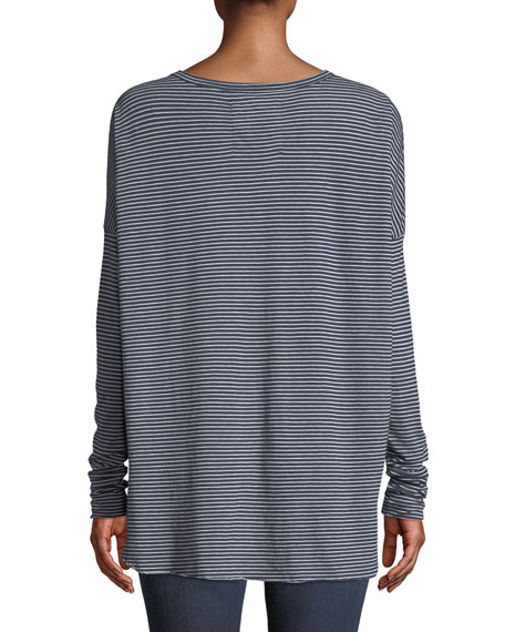 Relaxed Striped Long-Sleeve High-Low Tee