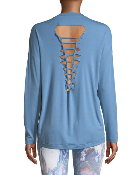 Braided-Back Scoop-Neck Jersey Top