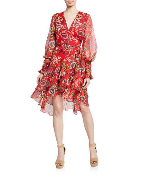 Sidony Floral-Print Flounce Wrap Dress