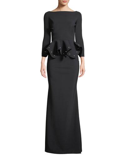 Dulcinea Peplum Pearly-Bead Gown