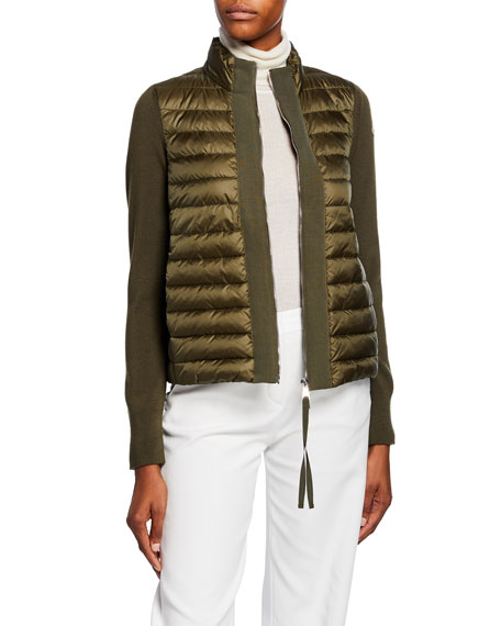 Moncler Knit & Down Combo Cardigan
