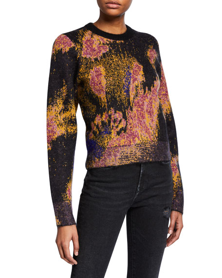 Fleur Mohair Crewneck Pullover Sweater