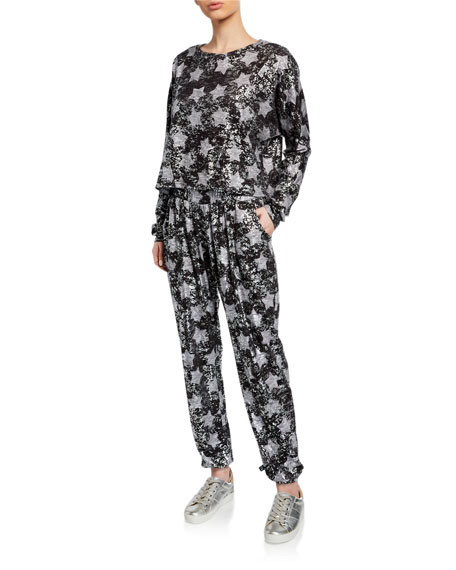 Foil Star-Print Pull-On Jogger Pants