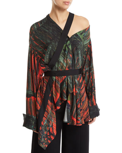 Heathers Printed Viscose One-Shoulder Top