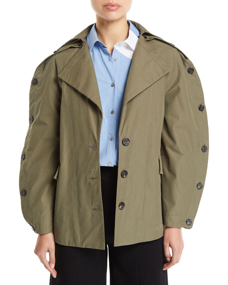 Ring Button-Sleeve Belted Cotton Jacket
