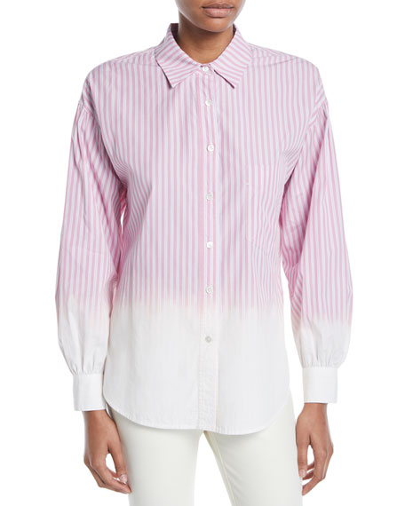 Image 1 of 1: Striped Ombre Button-Down Shirt