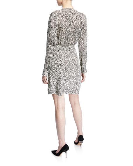 Diego Printed Silk Faux-Wrap Short Dress