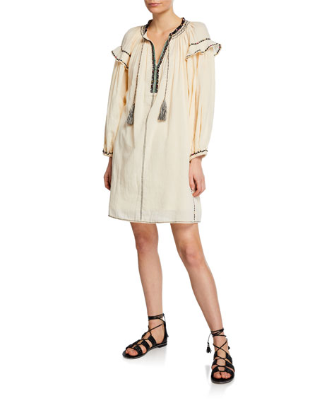 Etoile Isabel Marant Ralya Embroidered Tassel Long-Sleeve Dress