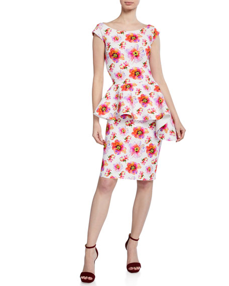 Image 1 of 1: Etheline Floral-Print Boat-Neck Cap-Sleeve Peplum Dress