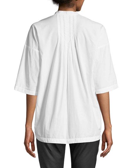 Joan Short-Sleeve Pleated Cotton Top