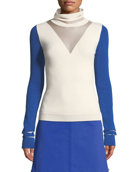 Two-Tone Jersey Turtleneck Pullover Sweater
