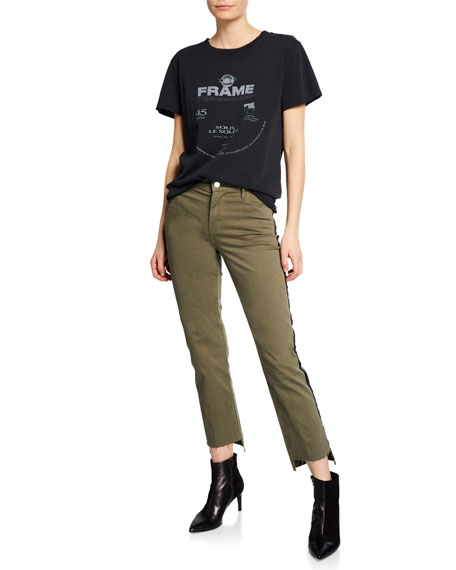 Le High Straight Raw Stagger-Hem Jeans w/ Tuxedo Stripes