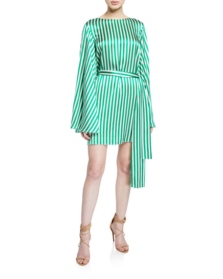 Caroline Constas Anya Striped Flare-Sleeve Belted Dress