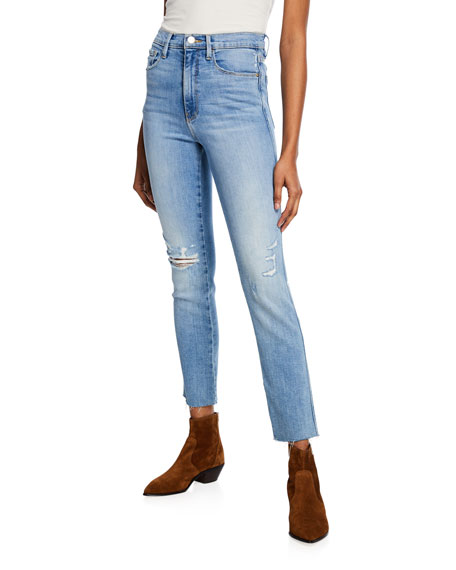 Image 1 of 1: Le Sylvie High-Rise Straight Raw-Edge Jeans