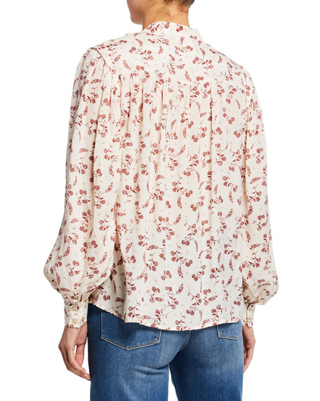 Voluminous Printed Button-Front Top