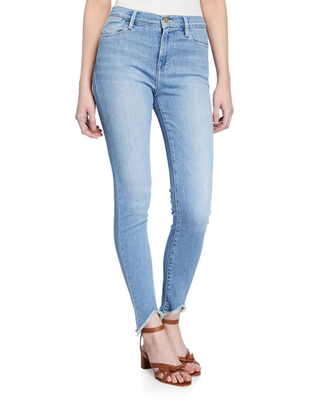 FRAME Floyd Le High Triangle Raw-Edge Skinny Jeans