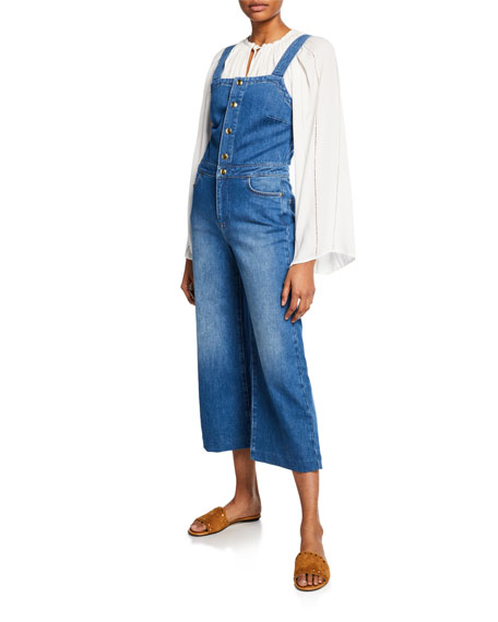 Claire Cropped Wide-Leg Denim Jumpsuit