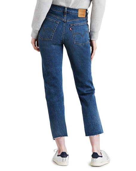 Wedgie Straight-Leg Jeans with Raw Hem