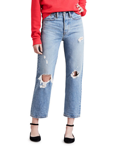 Wedgie Fit Distressed Straight-Leg Cropped Jeans