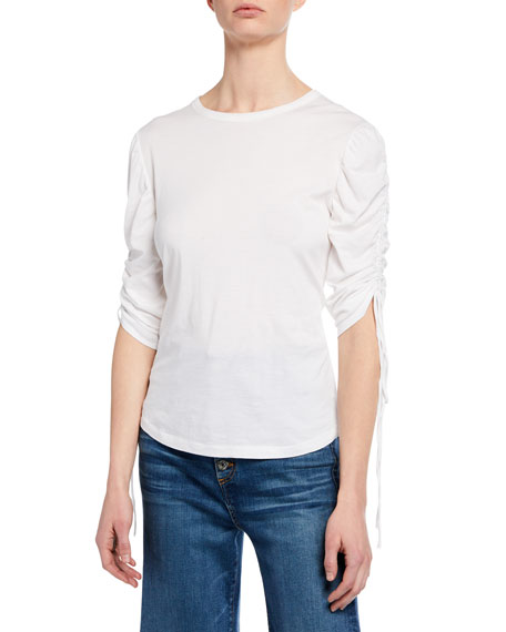 Image 1 of 1: Natalia Ruched-Sleeve Crewneck Top