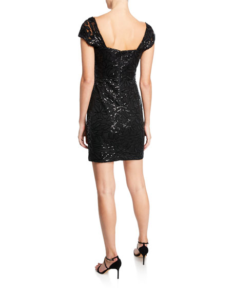 Tina Sweetheart Cap-Sleeve Embroidered Sequin Dress