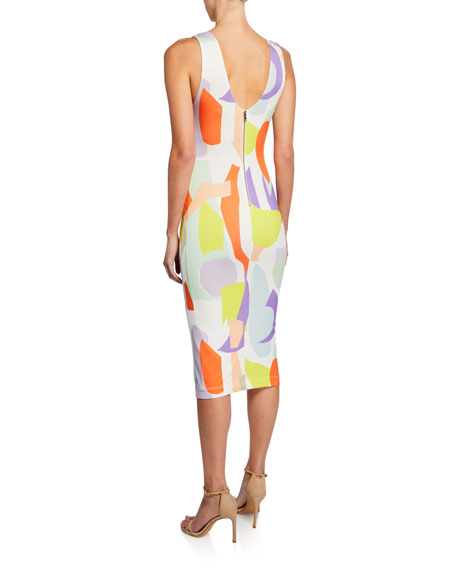 James Scoop-Neck Sleeveless Fitted Dress
