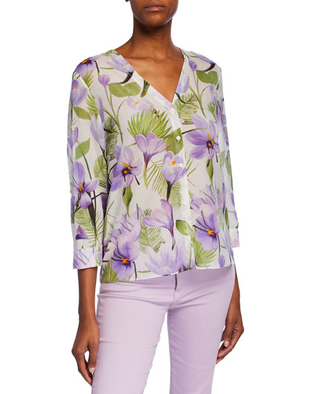 Colby Floral-Print Button-Down 3/4-Sleeve Shirt
