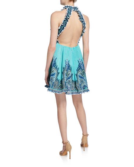 36526ba73cff77 Zimmermann Moncur Ruffle-Neck Printed Mini Dress