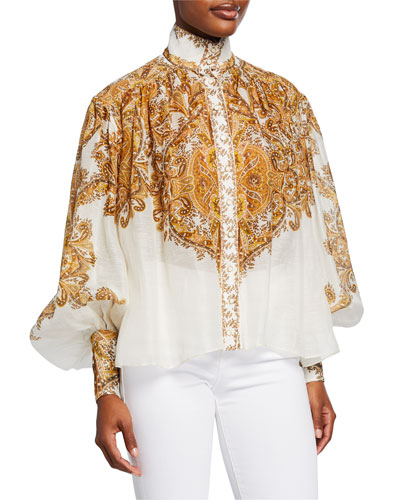 Zippy Printed Button-Front Bishop-Sleeve Billowy Blouse