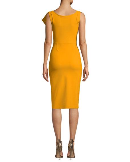 Boudicea V-Neck Sleeveless Body-Con Dress w/ Asymmetric Front Ruffle