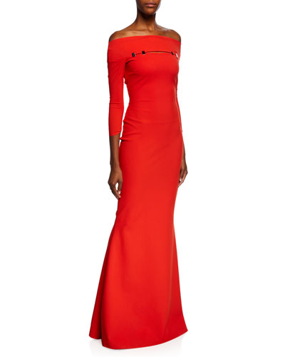 Off-the-Shoulder 3/4-Sleeve Trumpet Gown w/ Silvertone Embellishment