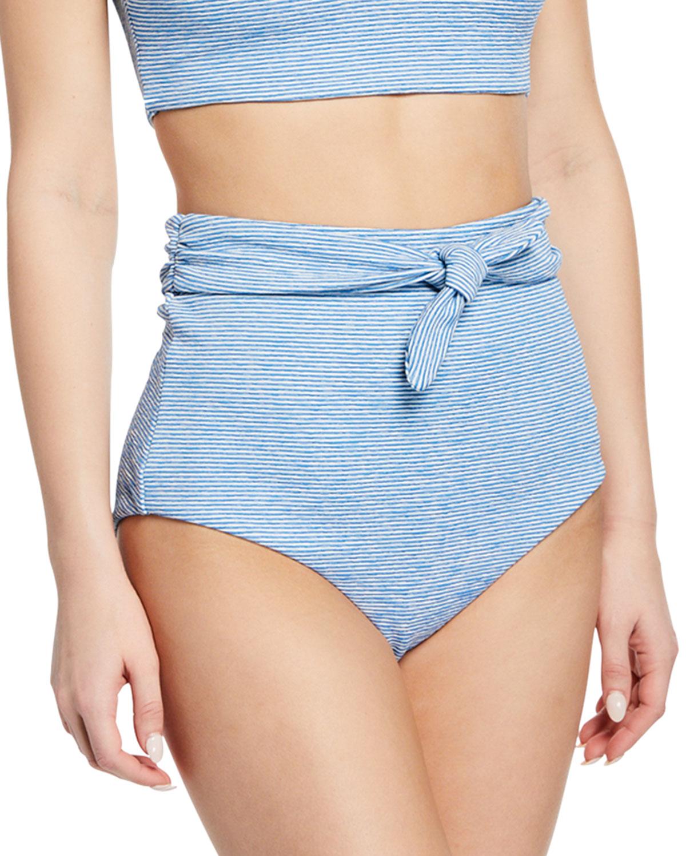 Mara Hoffman Accessories Jay Striped High-Rise Bikini Bottom